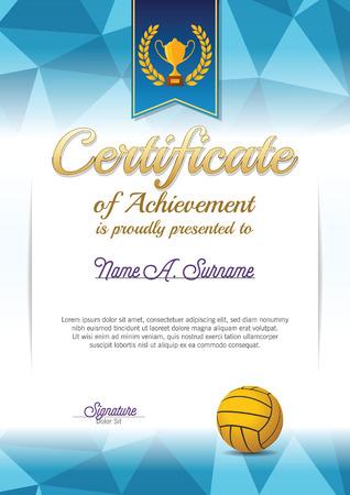 water polo: Certificate of Achievement. Water polo Certificate . Portrait. Illustration