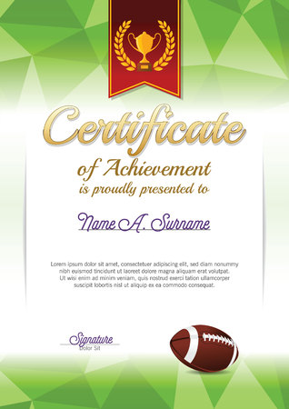 Certificate of Achievement. American Football Certificate. Portrait.
