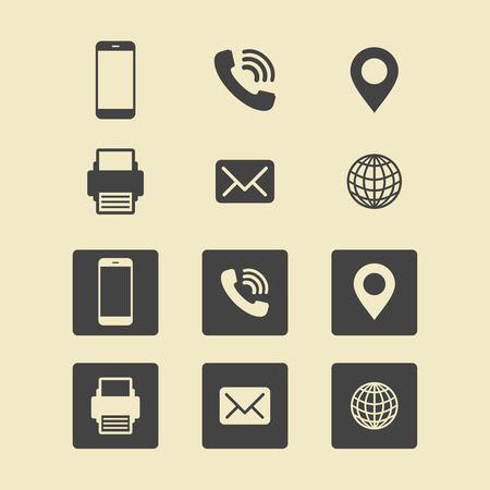 businesses: Business Card Icon Set. Web Icons. Illustration