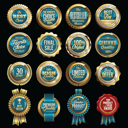 Set of Luxury Sales Quality Badges Vettoriali