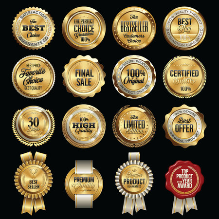 Set of Luxury Sales Quality Badges Vectores