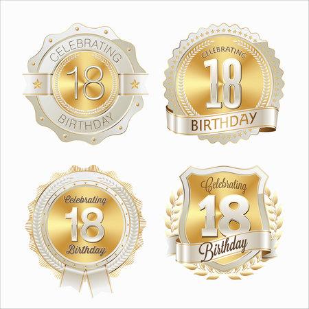 Anniversary Badge. 18th Anniversary.