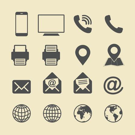 Business Card Icon Set. Web Icons. Çizim
