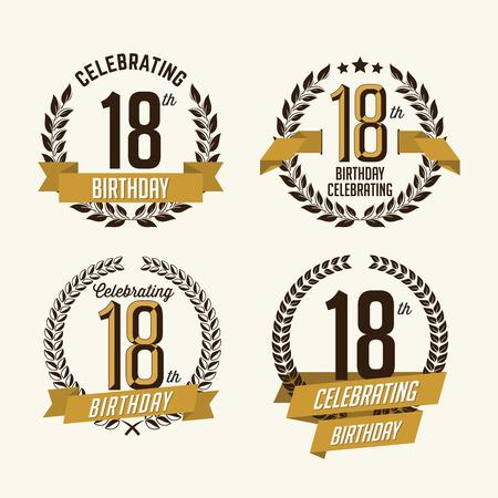 Anniversary Badge Vintage. 18th Anniversary. Illustration