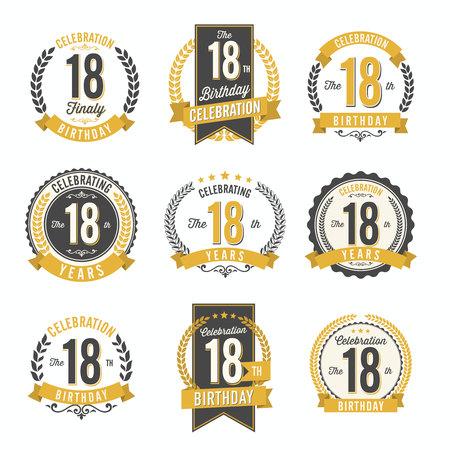 Celebrazione del 18 ° compleanno. Set di badge di compleanno. Archivio Fotografico - 90577352