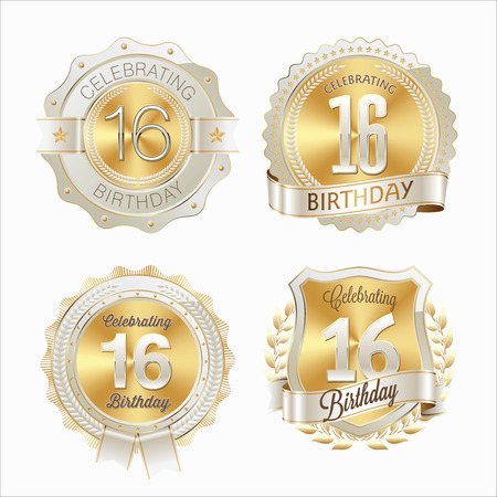16th Birthday Celebration. Set of Birthday Badges.