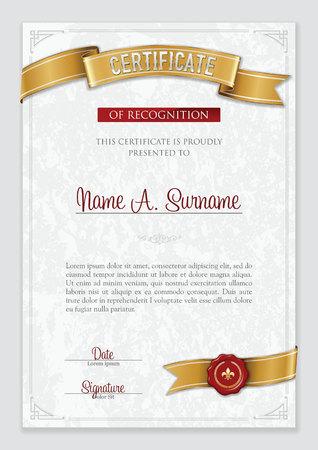 Certificate of Recognition. Vintage Frame. Portrait. Illustration