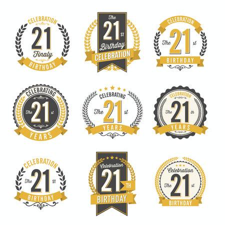 21st Birthday Celebration. Set of Birthday Badges.