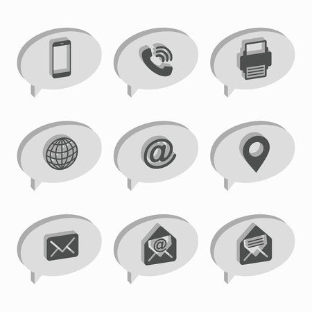 Isometric bubbles. Business Card Icon Set. Web Icons.