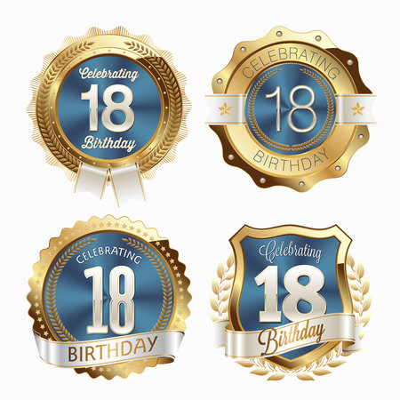 18th Birthday Celebration. Set of Birthday Badges.