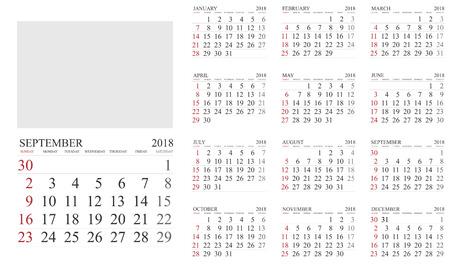 Calendar. 2018 Calendar. Vector print template. 向量圖像
