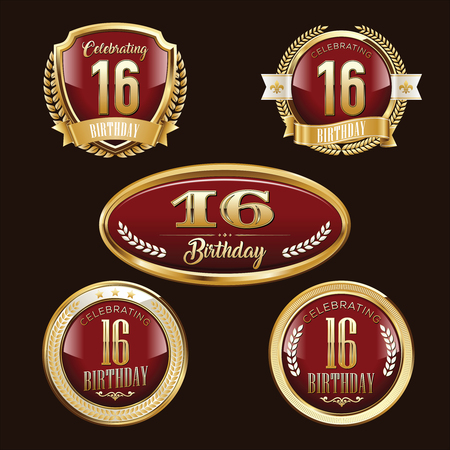 Anniversary Badge. 16th Anniversary.