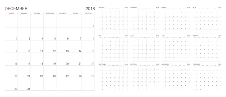Calendar. 2018 Calendar. Vector print template. Çizim