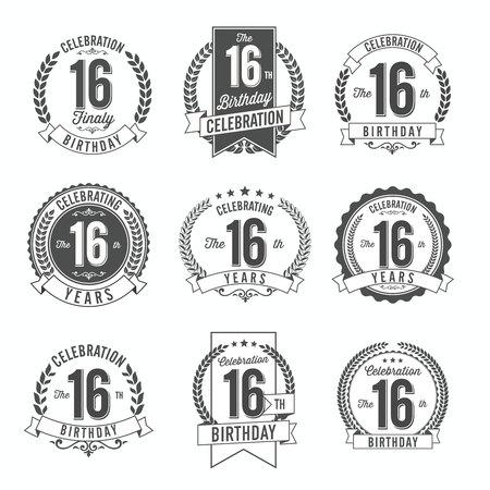 16th Birthday Celebration. Set of Birthday Badges.
