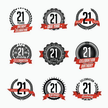 21st Birthday Celebration. Set of Birthday Badges.