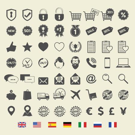 Shopping icons. Web Sign and Symbols. On-line store. Çizim