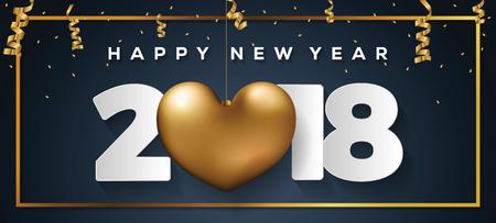 Happy New Year 2018 Card Çizim