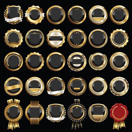 Set of Luxury Badges. Set of Seals and Badges. Çizim