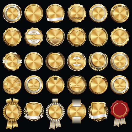 Set of Gold Certificate Seals and Badges Çizim