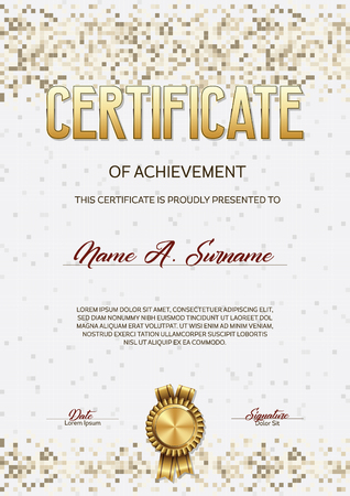 Certificate of Achievement. Pixel Design.