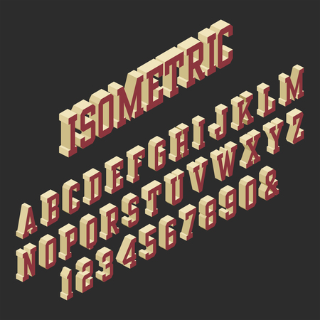 Isometric 3D Alphabet Font. Letters and Numbers. Çizim