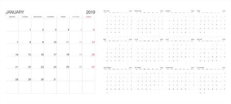 Calendario. Calendario 2019. Plantilla de impresión de vector.