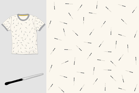 Hand drawn textile seamless vector pattern. T-shirt illustration. Print design.