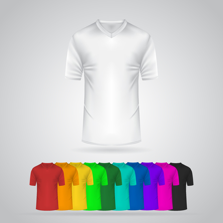Colored T-Shirt Template Collection. Vector mockup