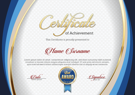 Certificate of Achievement. Template. Premium. 向量圖像