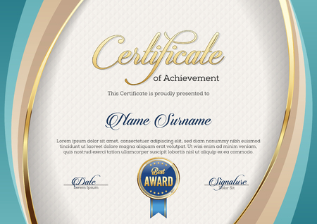 Certificate of Achievement. Template. Premium. Иллюстрация