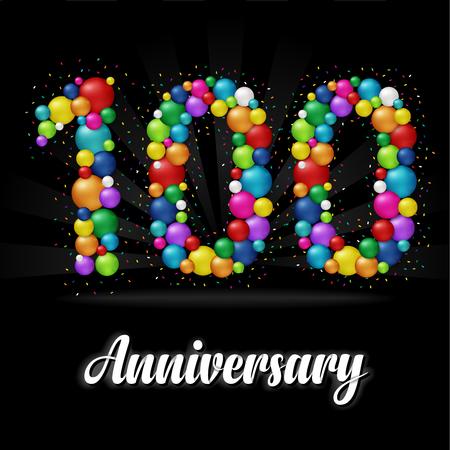 100 Years Anniversary colorful balls. Anniversary badge. 版權商用圖片 - 112514478