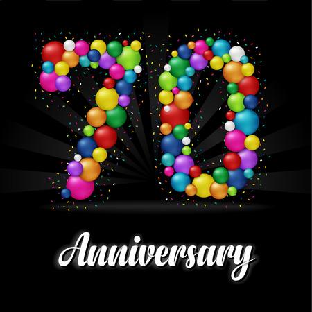 70 Years Anniversary colorful balls. Anniversary badge.