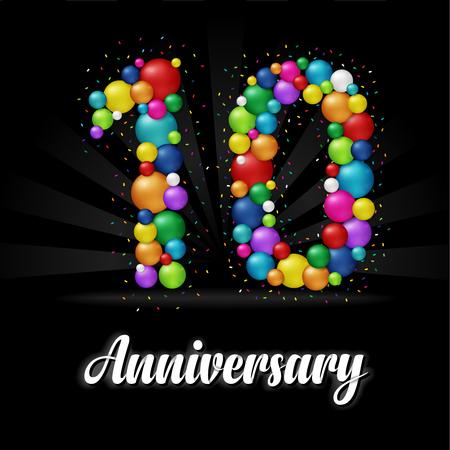 10 Years Anniversary colorful balls. Anniversary badge.