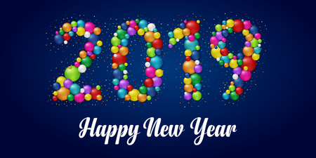 Happy New Year 2019. Colorful balls.