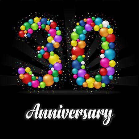 30 Years Anniversary colorful balls. Anniversary badge. Illustration