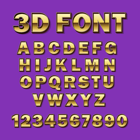 Vector Font 3D Gold. Gilded Typography. Alphabet and numbers. Illustration