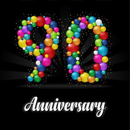 90 Years Anniversary colorful balls. Anniversary badge. 版權商用圖片 - 112514503