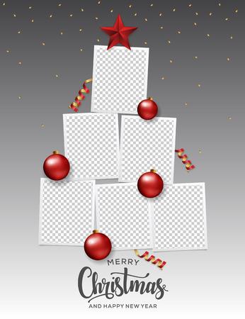 Merry Christmas Photo Frame Tree. Happy New Year Xmas Tree.