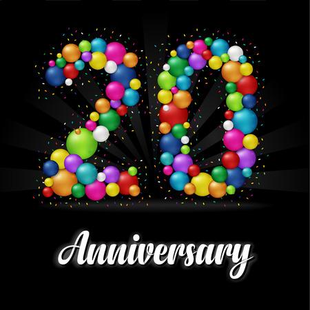 20 Years Anniversary colorful balls. Anniversary badge. Illustration