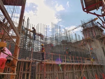 Construction site in sunny day and hot environment