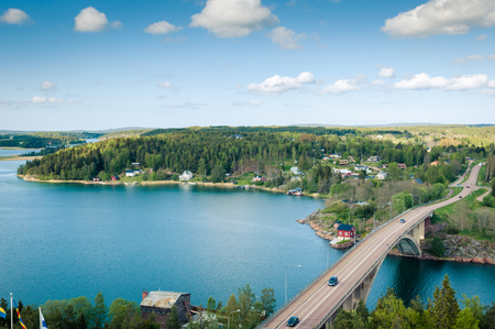 The view from the lookout tower on a bridge between the islands Stock Photo