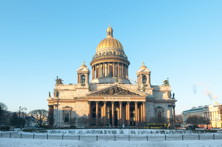 St. Isaacs Cathedral on a clear winter day. St. Petersburg. Rus