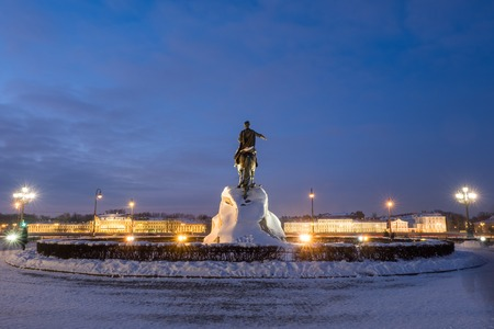 Bronze Horseman (Monument to Peter the Great) on the Senate Square in St. Petersburg in winter