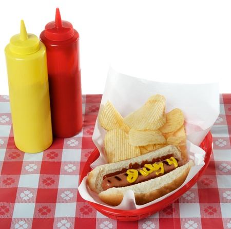 July 4th, Independence Day, Hot Dog on white plate photo