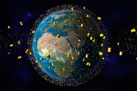 radioattivo: Giallo barili di rifiuti nucleari orbita del pianeta terra