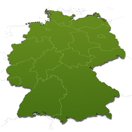 rhine westphalia: Germany map with states