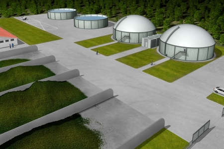 methane: Biogas plant from aerial perspective