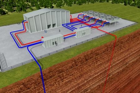 Geothermische systeem met het doorsnijden van de aarde en de diepe gat, ongeveer 3 - 6 km diep
