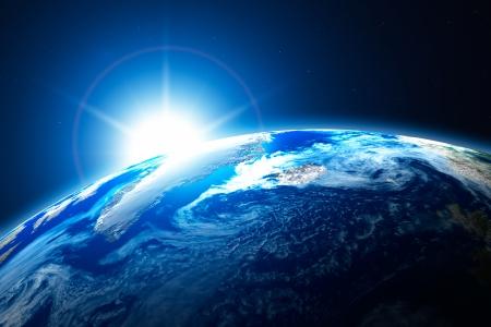 地球、太陽の背景と北極の北部地域