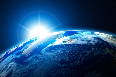 earth space: Northern area of the Earth, the Arctic, with sun background Stock Photo